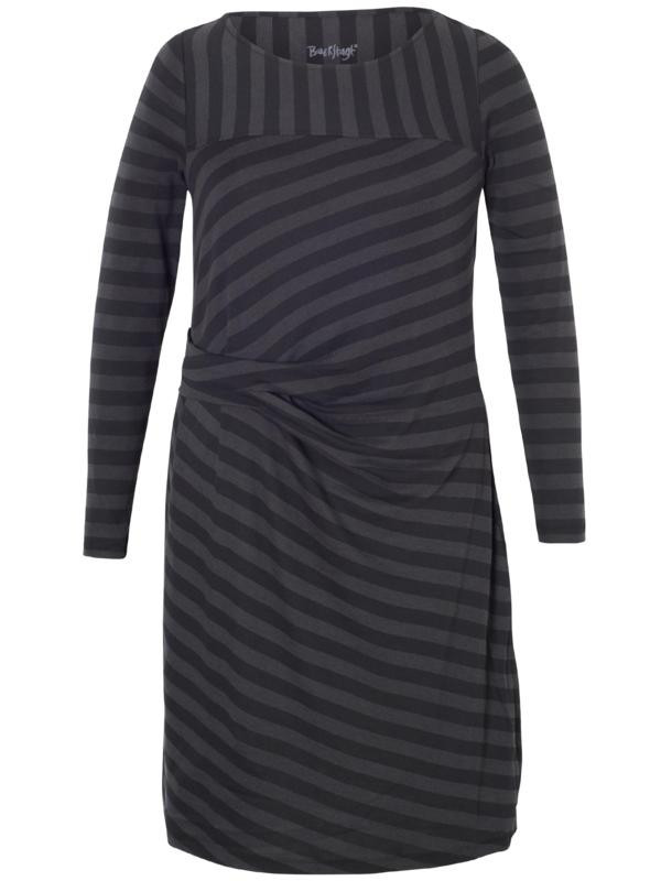 Black Stripe Jersey Dress - style: shift; pattern: striped; waist detail: twist front waist detail/nipped in at waist on one side/soft pleats/draping/ruching/gathering waist detail; predominant colour: charcoal; secondary colour: black; occasions: evening; length: just above the knee; fit: body skimming; fibres: cotton - mix; neckline: crew; sleeve length: long sleeve; sleeve style: standard; pattern type: fabric; texture group: jersey - stretchy/drapey; multicoloured: multicoloured; season: a/w 2015; wardrobe: event