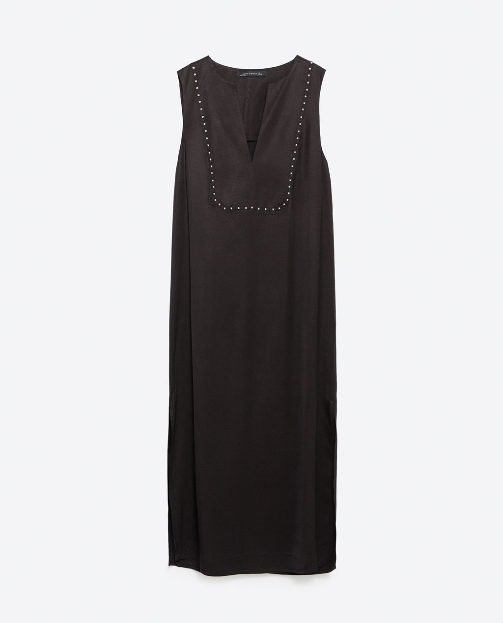 Long Tunic - style: shift; length: below the knee; neckline: v-neck; pattern: plain; sleeve style: sleeveless; predominant colour: black; occasions: evening; fit: body skimming; sleeve length: sleeveless; pattern type: fabric; texture group: other - light to midweight; embellishment: studs; season: a/w 2015; wardrobe: event