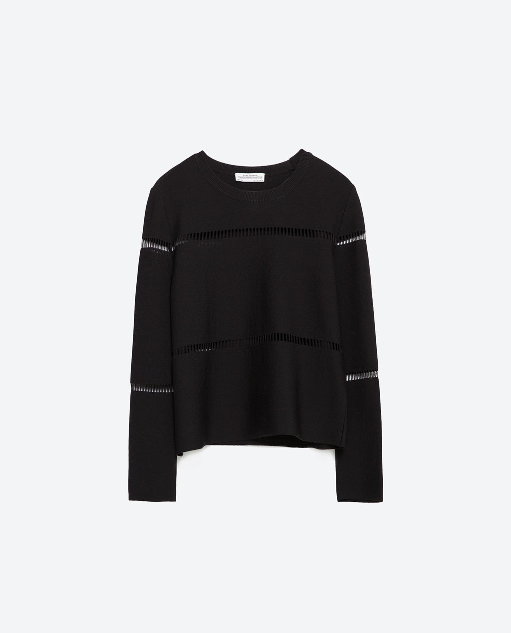 Cut Out Sweater - pattern: plain; style: standard; predominant colour: black; occasions: casual, creative work; length: standard; fit: standard fit; neckline: crew; sleeve length: long sleeve; sleeve style: standard; texture group: knits/crochet; pattern type: knitted - fine stitch; season: a/w 2015; wardrobe: basic