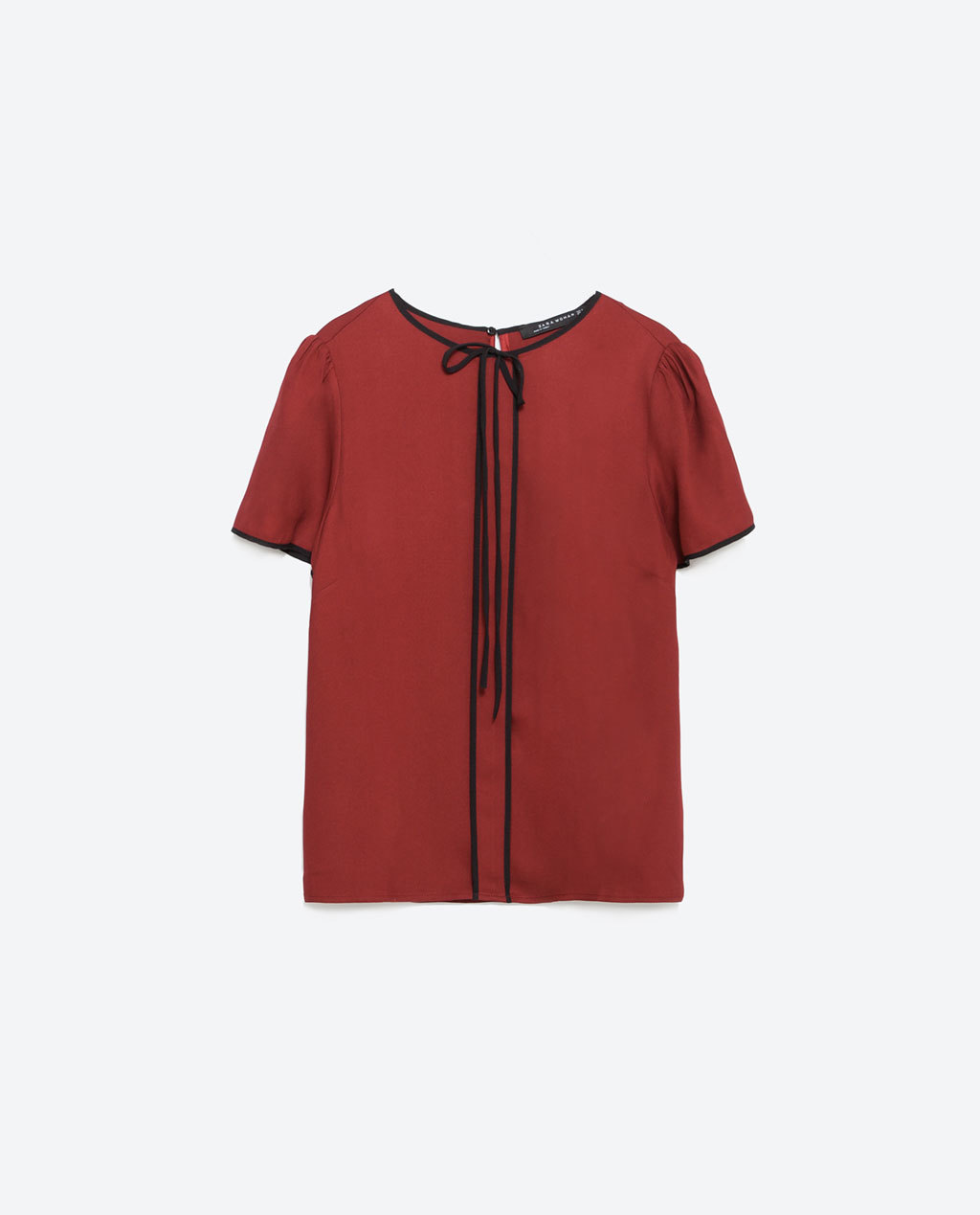 Top With Contrast Piping - pattern: plain; predominant colour: true red; secondary colour: black; occasions: casual, work, creative work; length: standard; style: top; fit: straight cut; neckline: crew; sleeve length: short sleeve; sleeve style: standard; texture group: jersey - stretchy/drapey; season: a/w 2015; wardrobe: highlight