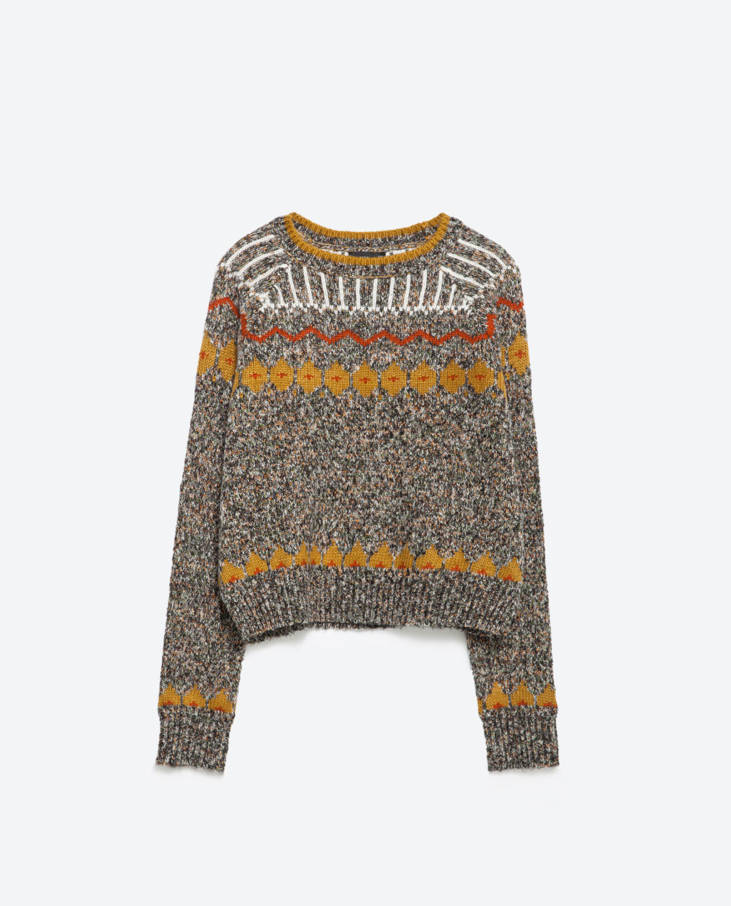 Jacquard Sweater - style: standard; secondary colour: mustard; predominant colour: taupe; occasions: casual; length: standard; fibres: acrylic - 100%; fit: loose; neckline: crew; pattern: fairisle; sleeve length: long sleeve; sleeve style: standard; texture group: knits/crochet; pattern type: knitted - other; pattern size: standard; multicoloured: multicoloured; season: a/w 2015; wardrobe: highlight