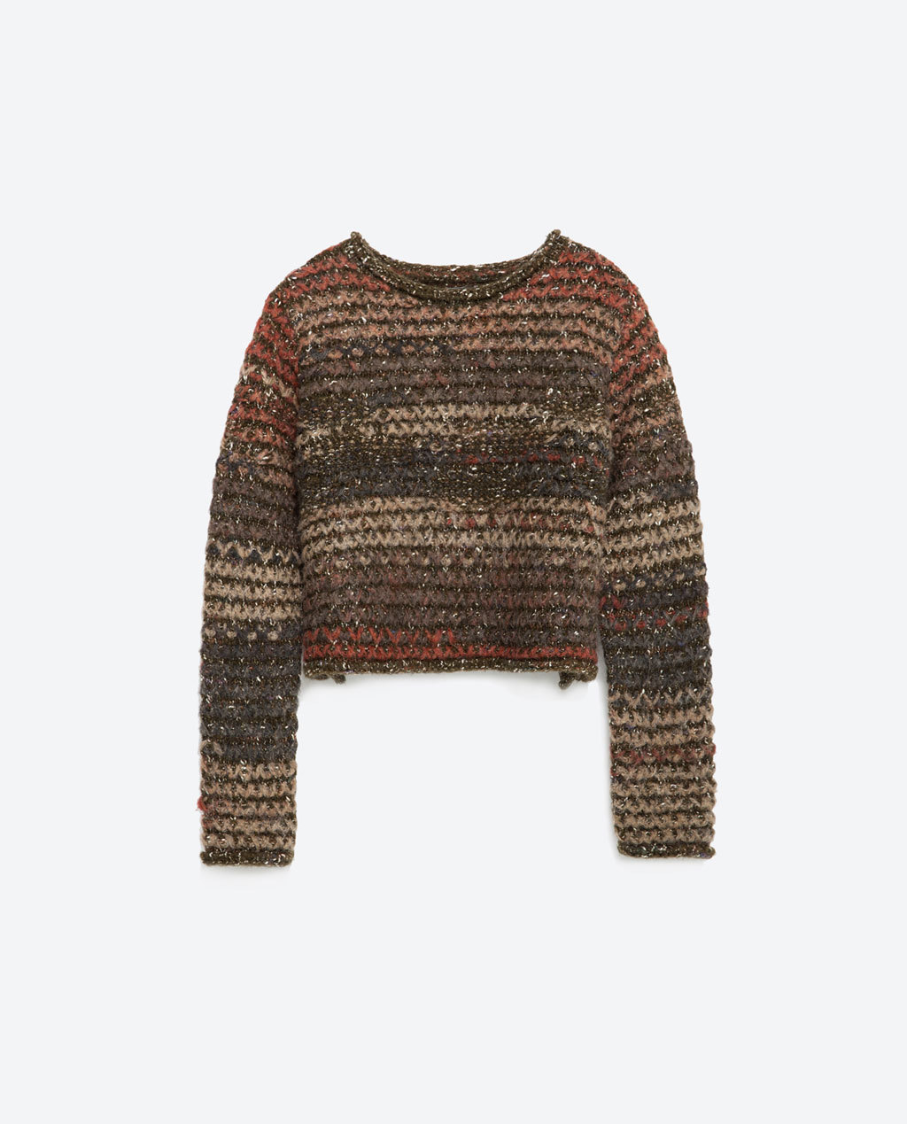 Round Neck Sweater - neckline: round neck; pattern: horizontal stripes; length: cropped; style: standard; secondary colour: chocolate brown; predominant colour: stone; occasions: casual, creative work; fibres: acrylic - 100%; fit: standard fit; sleeve length: long sleeve; sleeve style: standard; texture group: knits/crochet; pattern type: knitted - other; pattern size: standard; season: a/w 2015; wardrobe: highlight