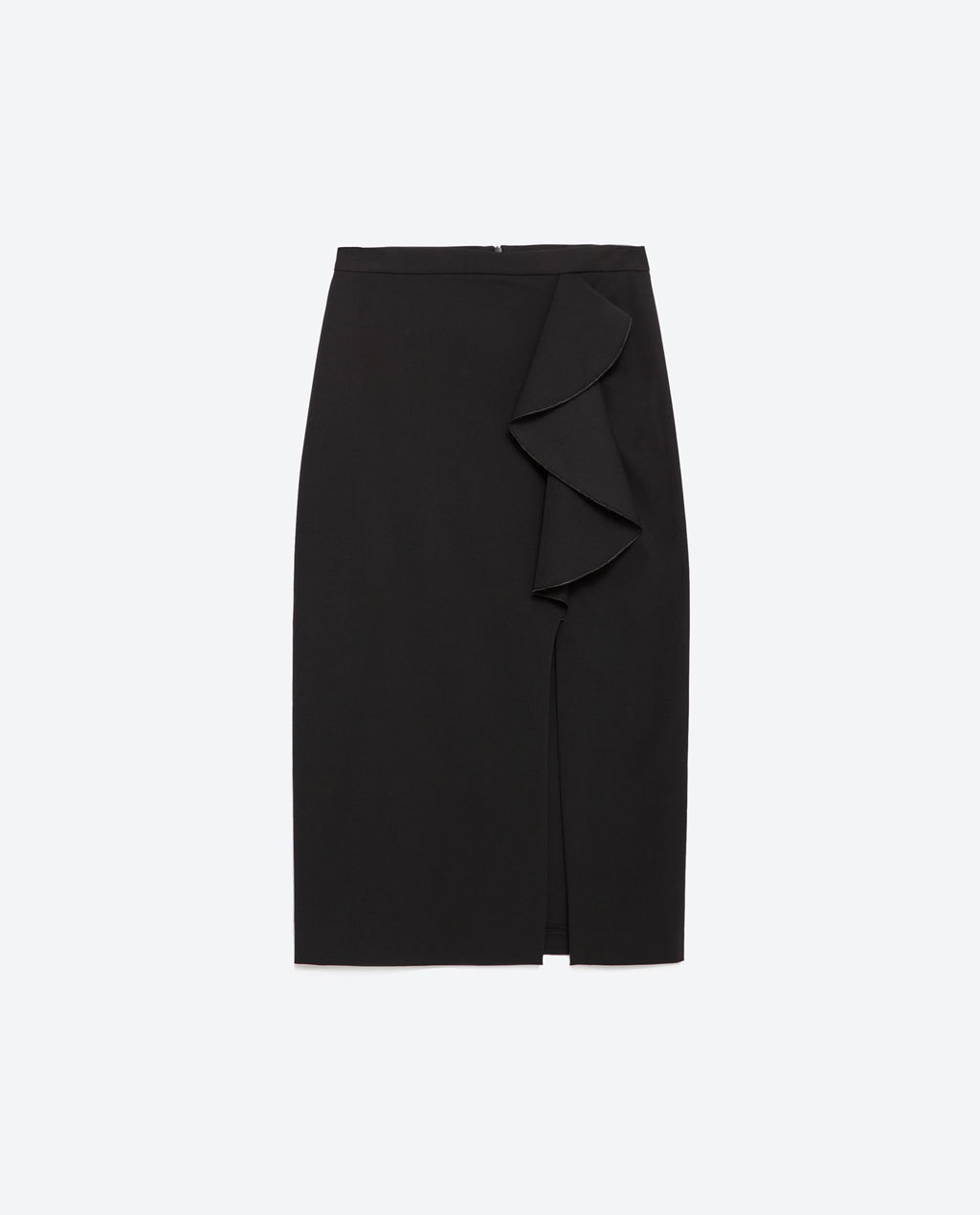 Pencil Skirt With Ruffle - pattern: plain; style: pencil; fit: tailored/fitted; waist: high rise; predominant colour: black; occasions: evening, work; length: on the knee; hip detail: adds bulk at the hips; pattern type: fabric; texture group: woven light midweight; season: a/w 2015; wardrobe: basic