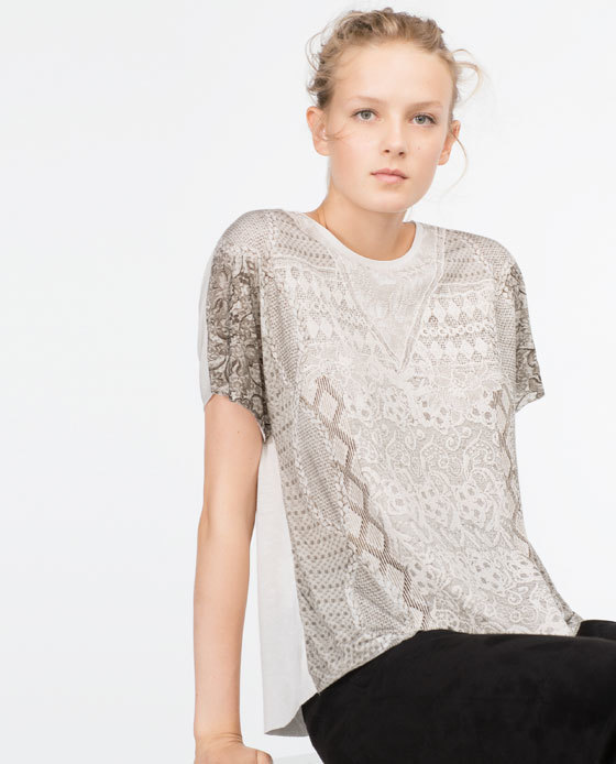 Printed T Shirt - style: t-shirt; predominant colour: stone; occasions: casual, creative work; length: standard; fit: straight cut; neckline: crew; sleeve length: short sleeve; sleeve style: standard; pattern type: fabric; pattern: patterned/print; texture group: jersey - stretchy/drapey; season: a/w 2015; wardrobe: highlight