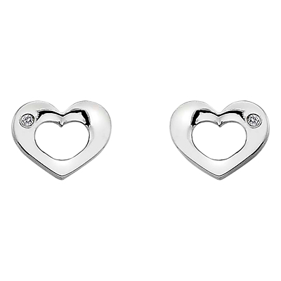 Open Heart Sterling Silver Diamond Earrings - predominant colour: silver; style: stud; length: short; size: small/fine; material: chain/metal; fastening: pierced; finish: metallic; embellishment: crystals/glass; occasions: creative work; season: a/w 2015