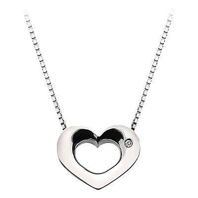 Open Heart Sterling Silver Diamond Pendant Necklace - predominant colour: silver; style: pendant; length: mid; size: small/fine; material: chain/metal; finish: metallic; embellishment: chain/metal; occasions: creative work; season: a/w 2015
