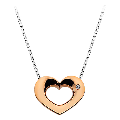 Open Heart Sterling Silver Diamond Pendant Necklace - predominant colour: silver; secondary colour: gold; style: pendant; length: mid; size: standard; material: chain/metal; finish: metallic; embellishment: chain/metal; occasions: creative work; season: a/w 2015