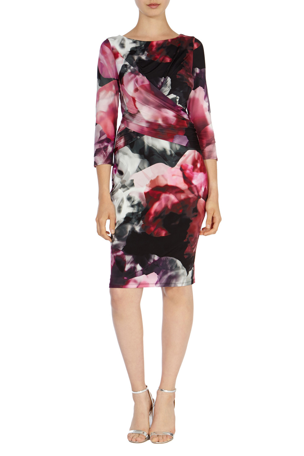 Agnes Sleeved Jersey Dress - style: shift; neckline: round neck; predominant colour: black; length: on the knee; fit: body skimming; occasions: occasion; sleeve length: 3/4 length; sleeve style: standard; pattern: florals; texture group: jersey - stretchy/drapey; season: a/w 2015