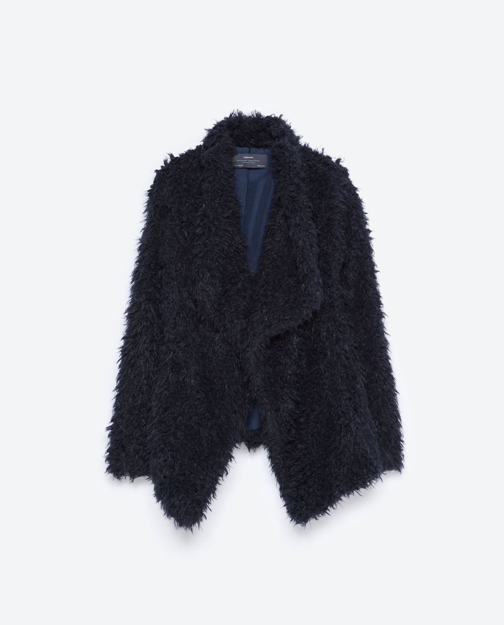 Fur Jacket - pattern: plain; style: single breasted blazer; collar: shawl/waterfall; fit: loose; predominant colour: navy; occasions: casual, creative work; length: standard; sleeve length: long sleeve; sleeve style: standard; texture group: fur; collar break: low/open; pattern type: knitted - other; season: a/w 2015; wardrobe: basic
