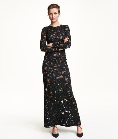 Lace Maxi Dress - style: maxi dress; length: ankle length; predominant colour: black; occasions: evening, occasion; fit: body skimming; neckline: crew; sleeve length: long sleeve; sleeve style: standard; texture group: lace; pattern type: fabric; pattern: patterned/print; embellishment: lace; season: a/w 2015; wardrobe: event