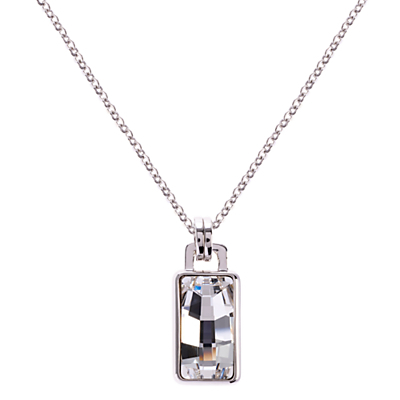 Luxe Oblong Crystal Pendant Drop Necklace, Silver - predominant colour: silver; occasions: casual, evening, occasion; style: pendant; length: mid; size: small/fine; material: chain/metal; finish: plain; embellishment: crystals/glass; season: a/w 2015; wardrobe: basic