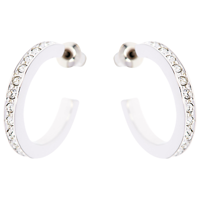 Small Crystal Hoop Earrings - predominant colour: silver; occasions: evening, work, occasion; style: hoop; length: mid; size: small/fine; material: chain/metal; fastening: pierced; finish: metallic; embellishment: crystals/glass; season: a/w 2015; wardrobe: basic
