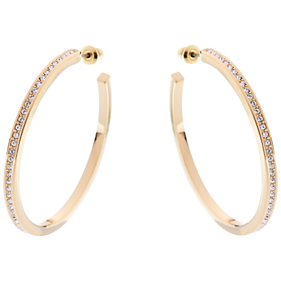 Encrusted Large Hoop Earrings - predominant colour: gold; occasions: evening, work, occasion; style: hoop; length: long; size: standard; material: chain/metal; fastening: pierced; finish: metallic; embellishment: crystals/glass; season: a/w 2015