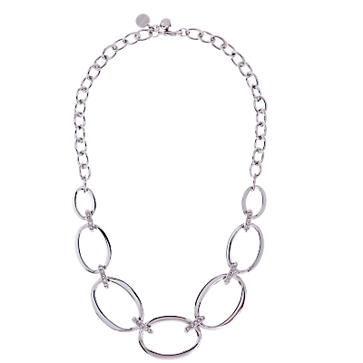 Oversize Chain Necklace, Silver - predominant colour: silver; length: mid; size: large/oversized; material: chain/metal; finish: plain; occasions: creative work; season: a/w 2015; style: chain (no pendant); wardrobe: highlight