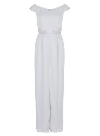 Womens **Elise Ryan Silver Maxi Dress Silver - neckline: off the shoulder; sleeve style: capped; pattern: plain; style: maxi dress; predominant colour: silver; occasions: evening, occasion; length: floor length; fit: body skimming; fibres: polyester/polyamide - 100%; sleeve length: short sleeve; texture group: sheer fabrics/chiffon/organza etc.; pattern type: fabric; season: a/w 2015; wardrobe: event