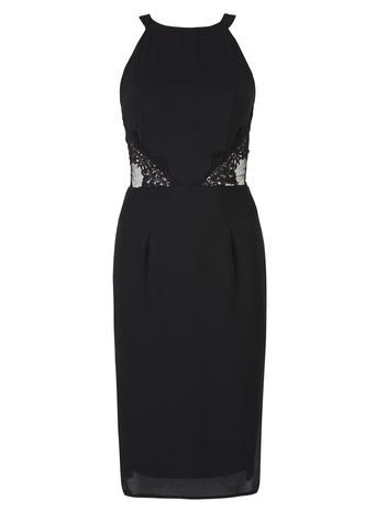 Womens **Elise Ryan Black Pencil Dress Black - style: shift; fit: tailored/fitted; pattern: plain; sleeve style: sleeveless; predominant colour: black; occasions: evening; length: just above the knee; fibres: polyester/polyamide - 100%; neckline: crew; waist detail: cut out detail; sleeve length: sleeveless; texture group: sheer fabrics/chiffon/organza etc.; pattern type: fabric; embellishment: lace; season: a/w 2015