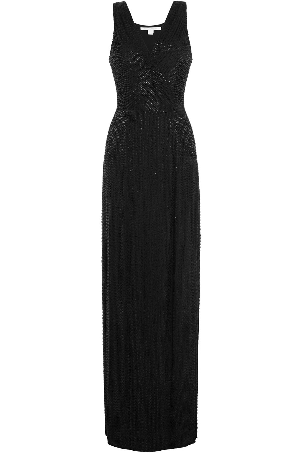 Embellished Silk Evening Gown Black - style: ballgown; neckline: low v-neck; sleeve style: standard vest straps/shoulder straps; pattern: plain; waist detail: fitted waist; predominant colour: black; occasions: evening, occasion; length: floor length; fit: fitted at waist & bust; fibres: silk - 100%; sleeve length: sleeveless; texture group: structured shiny - satin/tafetta/silk etc.; season: a/w 2015; wardrobe: event