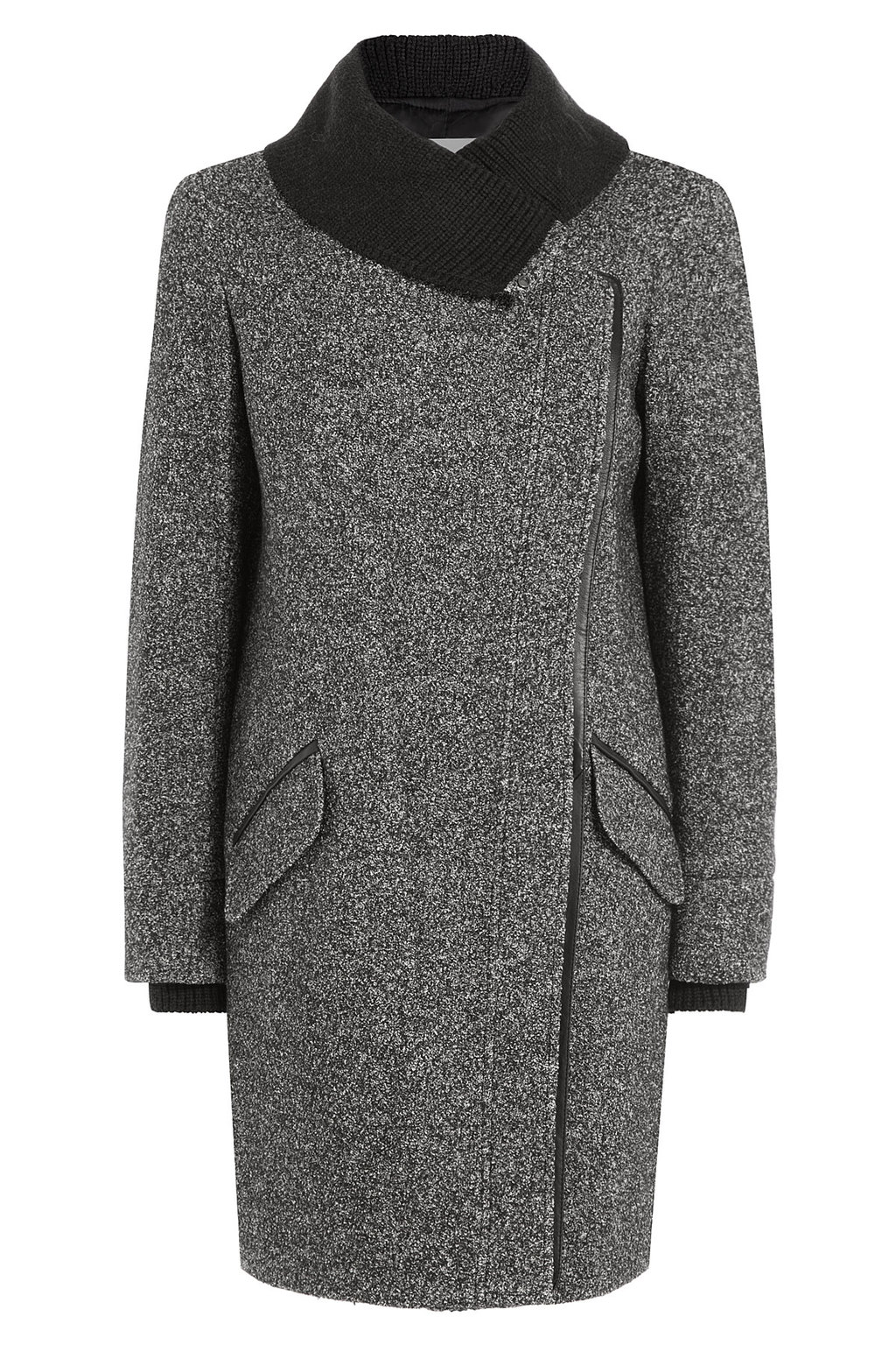 Wool Cotton Blend Coat Grey - collar: funnel; style: single breasted; pattern: herringbone/tweed; length: mid thigh; predominant colour: charcoal; secondary colour: black; occasions: work, creative work; fit: tailored/fitted; fibres: wool - mix; sleeve length: long sleeve; sleeve style: standard; collar break: high; pattern type: fabric; texture group: woven bulky/heavy; season: a/w 2015