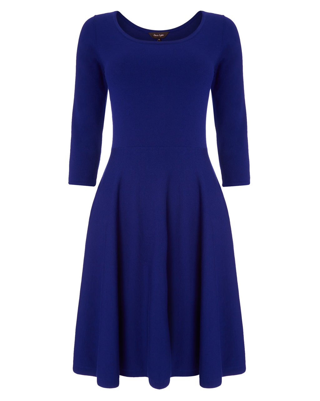 Hadley Fit And Flare Dress - neckline: round neck; pattern: plain; predominant colour: royal blue; occasions: work; length: on the knee; fit: fitted at waist & bust; style: fit & flare; hip detail: subtle/flattering hip detail; sleeve length: 3/4 length; sleeve style: standard; texture group: knits/crochet; pattern type: fabric; season: a/w 2015; wardrobe: highlight