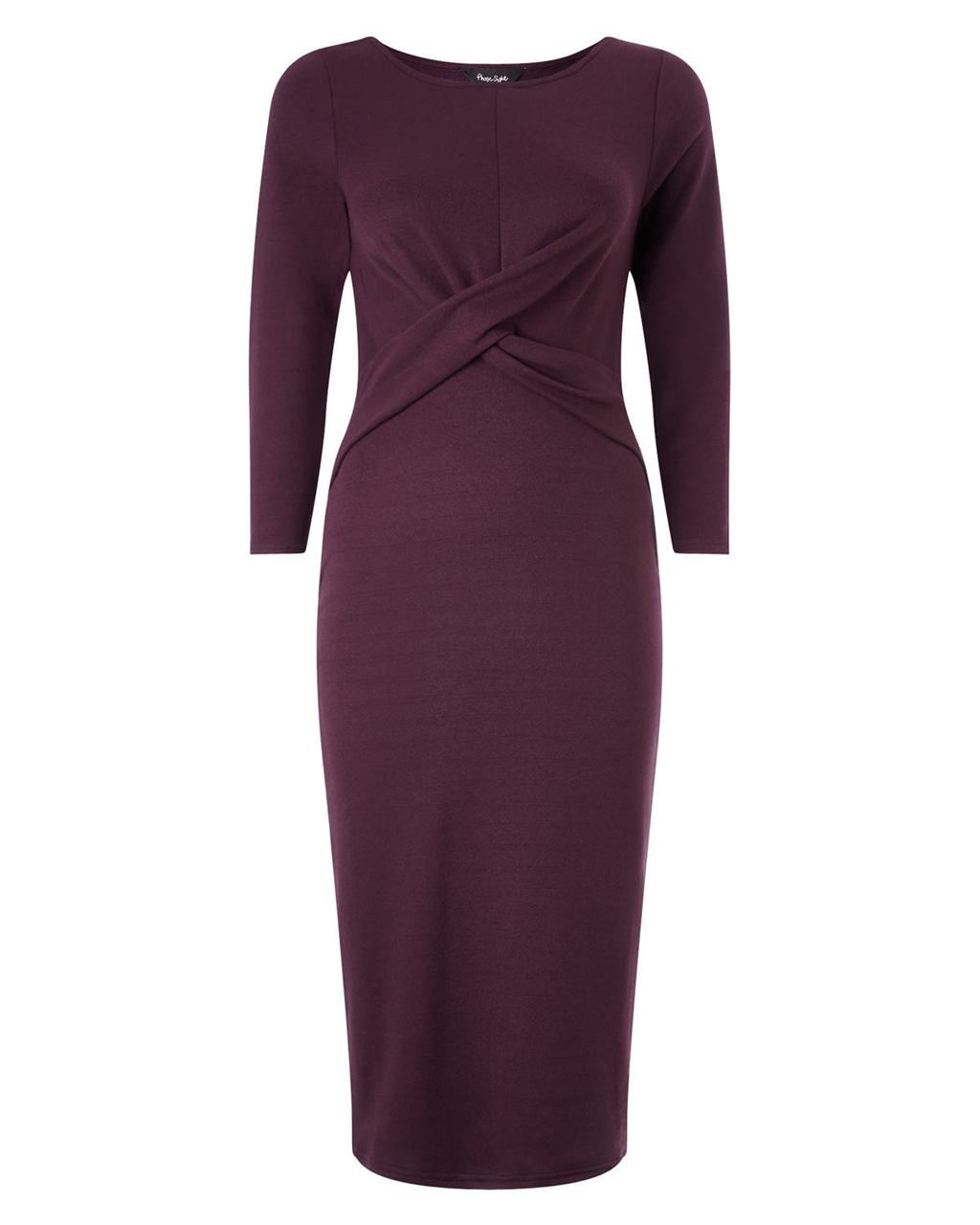 Mandy Midi Dress - style: shift; length: below the knee; neckline: round neck; pattern: plain; waist detail: twist front waist detail/nipped in at waist on one side/soft pleats/draping/ruching/gathering waist detail; predominant colour: purple; occasions: evening, occasion; fit: body skimming; fibres: polyester/polyamide - stretch; sleeve length: 3/4 length; sleeve style: standard; pattern type: fabric; texture group: jersey - stretchy/drapey; season: a/w 2015