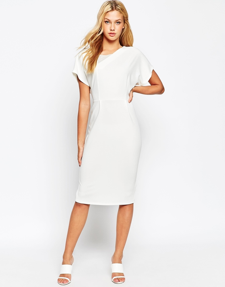 Clean Mesh Insert Pencil Dress Ivory - style: shift; length: below the knee; sleeve style: dolman/batwing; fit: tailored/fitted; pattern: plain; back detail: back revealing; predominant colour: ivory/cream; fibres: polyester/polyamide - stretch; occasions: occasion; neckline: crew; sleeve length: short sleeve; pattern type: fabric; texture group: other - light to midweight; season: a/w 2015; wardrobe: event