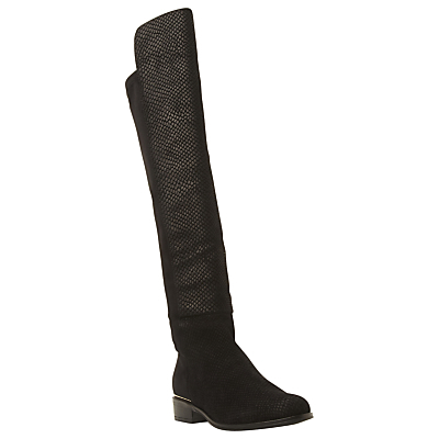 Trish Luxe Reptile Effect Over Knee Boot, Black Leather - secondary colour: gold; predominant colour: black; occasions: casual, creative work; material: suede; heel height: flat; heel: standard; toe: round toe; boot length: over the knee; style: standard; finish: plain; pattern: animal print; season: a/w 2015; trends: over the knee boots; wardrobe: highlight