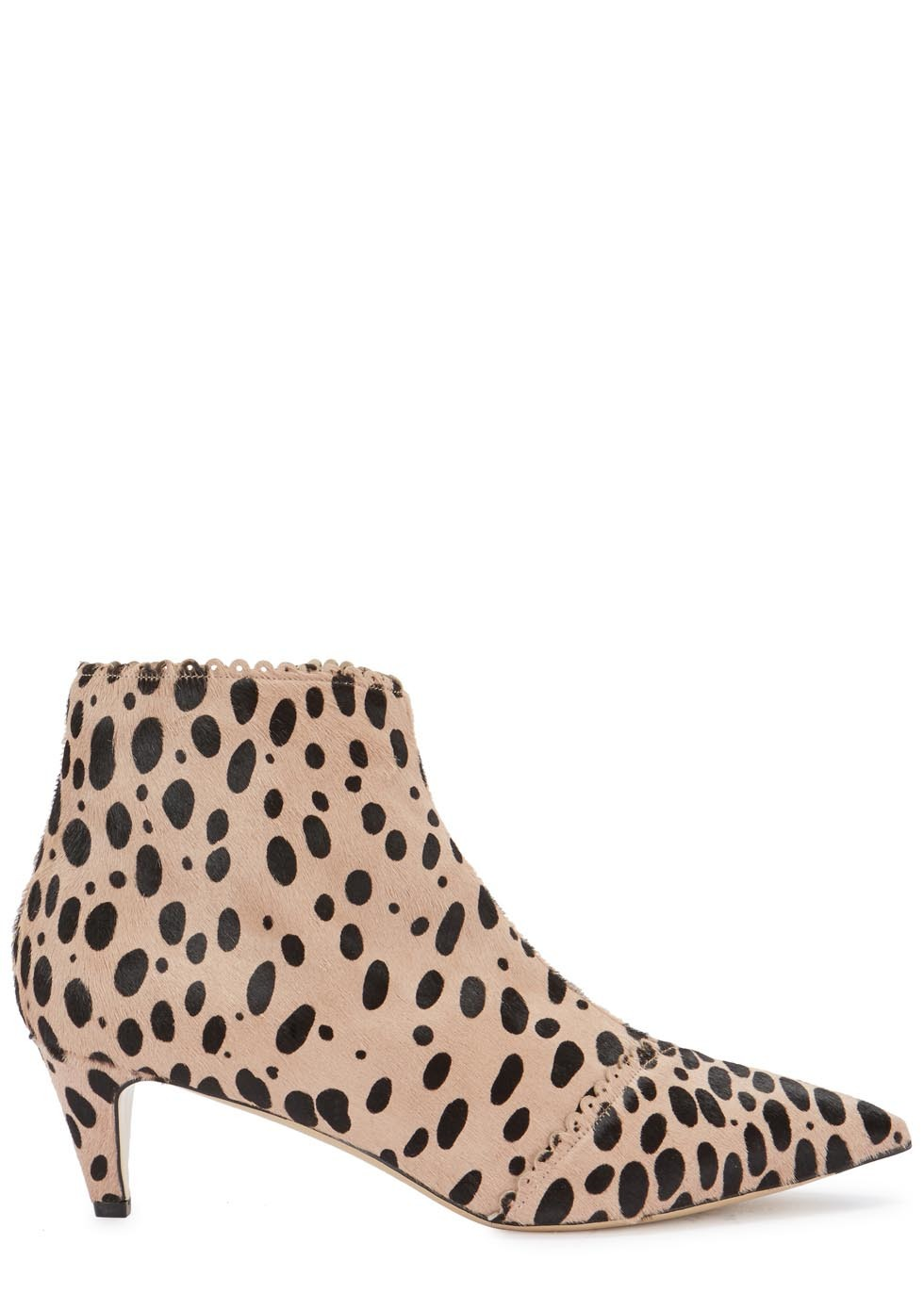Luna Cheetah Print Calf Hair Ankle Boots - predominant colour: camel; secondary colour: black; occasions: casual, creative work; material: animal skin; heel height: mid; heel: standard; toe: pointed toe; boot length: ankle boot; style: standard; finish: plain; pattern: animal print; season: a/w 2015; wardrobe: highlight