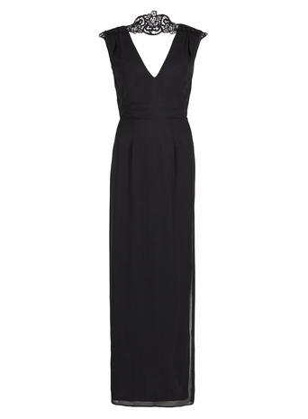 Womens **Elise Ryan Black Maxi Dress Black - neckline: low v-neck; pattern: plain; sleeve style: sleeveless; style: maxi dress; predominant colour: black; length: floor length; fit: fitted at waist & bust; occasions: occasion; sleeve length: sleeveless; pattern type: fabric; texture group: other - light to midweight; embellishment: lace; season: a/w 2015; wardrobe: event
