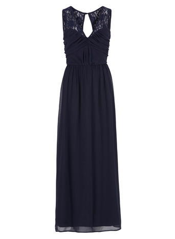 Womens **Elise Ryan Navy Maxi Dress Blue - neckline: v-neck; pattern: plain; sleeve style: sleeveless; style: maxi dress; predominant colour: navy; occasions: evening; length: floor length; fit: body skimming; fibres: polyester/polyamide - 100%; sleeve length: sleeveless; texture group: sheer fabrics/chiffon/organza etc.; pattern type: fabric; embellishment: lace; shoulder detail: sheer at shoulder; season: a/w 2015; wardrobe: event