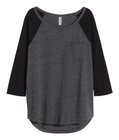 Jersey Top - sleeve style: raglan; style: t-shirt; predominant colour: charcoal; secondary colour: black; occasions: casual; length: standard; neckline: scoop; fibres: cotton - stretch; fit: loose; sleeve length: 3/4 length; pattern type: fabric; pattern: colourblock; texture group: jersey - stretchy/drapey; season: a/w 2015