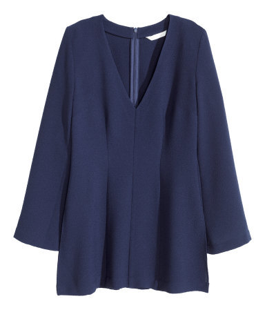 Crêpe Blouse - neckline: v-neck; pattern: plain; style: blouse; predominant colour: navy; occasions: casual, creative work; length: standard; fibres: polyester/polyamide - stretch; fit: loose; sleeve length: long sleeve; sleeve style: standard; texture group: crepes; pattern type: fabric; season: a/w 2015; wardrobe: basic