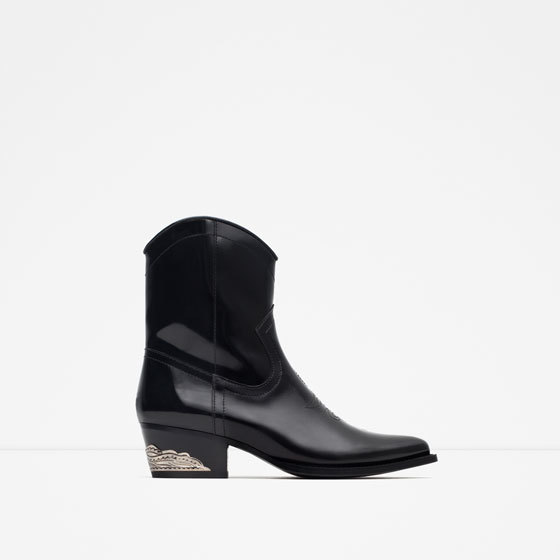 Flat Leather Cowboy Ankle Boots - predominant colour: black; occasions: casual, creative work; material: leather; heel height: mid; heel: block; toe: pointed toe; boot length: mid calf; style: cowboy; finish: plain; pattern: plain; season: a/w 2015; wardrobe: basic