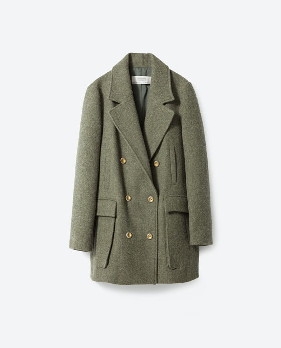 Wool Coat - pattern: plain; length: below the bottom; style: double breasted; collar: standard lapel/rever collar; predominant colour: khaki; occasions: casual, work, creative work; fit: straight cut (boxy); fibres: wool - mix; sleeve length: long sleeve; sleeve style: standard; collar break: medium; pattern type: fabric; texture group: woven bulky/heavy; season: a/w 2015