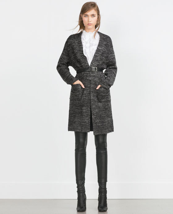 Long Cardigan - neckline: low v-neck; style: belted; predominant colour: charcoal; occasions: casual; fibres: acrylic - mix; fit: loose; length: mid thigh; hip detail: subtle/flattering hip detail; waist detail: belted waist/tie at waist/drawstring; sleeve length: long sleeve; sleeve style: standard; texture group: knits/crochet; pattern type: knitted - other; pattern size: standard; pattern: marl; season: a/w 2015; wardrobe: basic