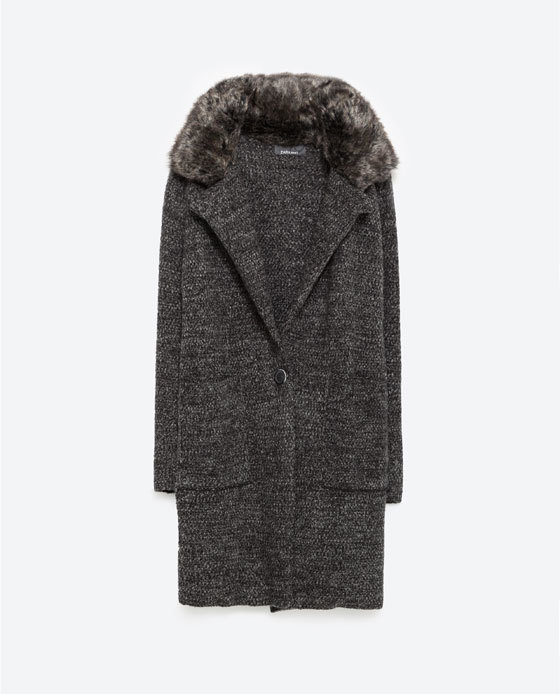 Coat With Large Lapel - pattern: plain; length: mid thigh; predominant colour: charcoal; occasions: casual, creative work; fit: straight cut (boxy); style: cocoon; fibres: acrylic - mix; sleeve length: long sleeve; sleeve style: standard; collar: fur; collar break: low/open; pattern type: knitted - fine stitch; texture group: woven bulky/heavy; embellishment: fur; season: a/w 2015; wardrobe: highlight