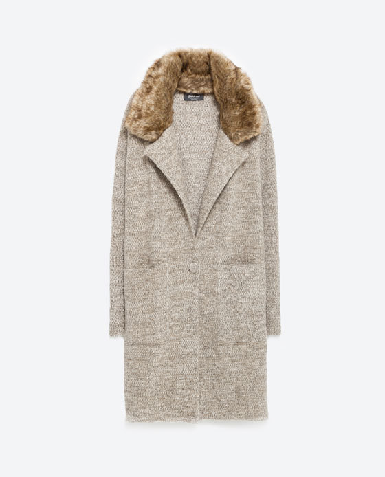 Coat With Large Lapel - pattern: plain; length: below the bottom; secondary colour: tan; predominant colour: taupe; occasions: casual; fit: straight cut (boxy); style: cocoon; fibres: acrylic - mix; sleeve length: long sleeve; sleeve style: standard; collar: fur; collar break: low/open; pattern type: knitted - fine stitch; texture group: woven bulky/heavy; embellishment: fur; season: a/w 2015