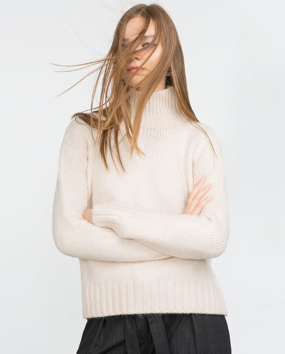 Jumper With A Turn Over Collar - pattern: plain; neckline: high neck; style: standard; predominant colour: ivory/cream; occasions: casual, creative work; length: standard; fibres: acrylic - mix; fit: standard fit; sleeve length: long sleeve; sleeve style: standard; texture group: knits/crochet; pattern type: knitted - other; season: a/w 2015; wardrobe: basic
