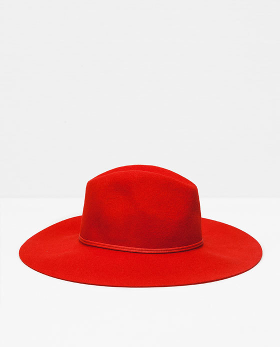 Wool Hat - predominant colour: true red; occasions: casual; style: fedora; size: standard; material: fabric; pattern: plain; season: a/w 2015; wardrobe: highlight