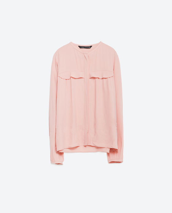Blouse With Frill Detail - neckline: round neck; pattern: plain; length: below the bottom; predominant colour: pink; occasions: casual, work, occasion, creative work; style: top; fibres: viscose/rayon - 100%; fit: straight cut; sleeve length: long sleeve; sleeve style: standard; bust detail: tiers/frills/bulky drapes/pleats; pattern type: fabric; texture group: other - light to midweight; season: a/w 2015