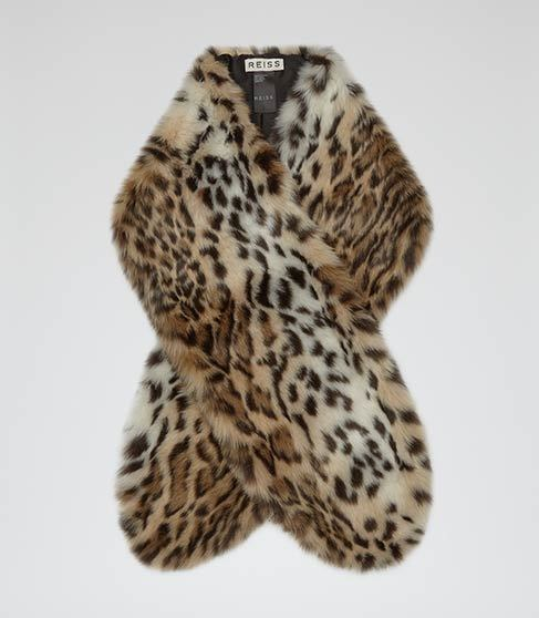 Falabella Faux Fur Stole - predominant colour: stone; secondary colour: black; occasions: casual, evening, creative work; type of pattern: standard; size: standard; material: faux fur; pattern: animal print; style: stole; multicoloured: multicoloured; season: a/w 2015; trends: folky 70s, warm and fuzzy