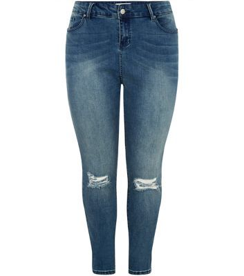 Curves Blue Ripped Knee Skinny Jeans - style: skinny leg; length: standard; pattern: plain; pocket detail: traditional 5 pocket; waist: mid/regular rise; predominant colour: navy; occasions: casual; fibres: cotton - stretch; jeans detail: washed/faded, rips; texture group: denim; pattern type: fabric; season: a/w 2015