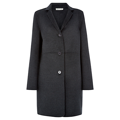 Arosa Wool Coat, Charcoal - pattern: plain; style: single breasted; collar: standard lapel/rever collar; length: mid thigh; predominant colour: charcoal; occasions: work, creative work; fit: straight cut (boxy); fibres: wool - mix; sleeve length: long sleeve; sleeve style: standard; collar break: medium; pattern type: fabric; texture group: woven bulky/heavy; season: a/w 2015; wardrobe: investment