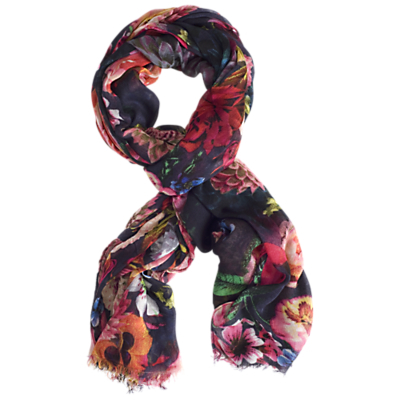 Flower Print Scarf, Multi - secondary colour: hot pink; predominant colour: navy; occasions: casual, creative work; type of pattern: standard; style: regular; size: standard; material: fabric; pattern: patterned/print; multicoloured: multicoloured; season: a/w 2015; wardrobe: highlight