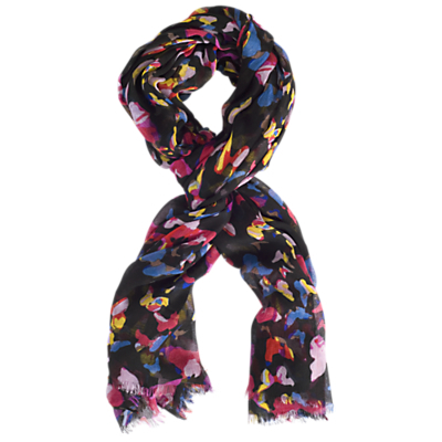 Butterfly Print Scarf, Black/Pink - secondary colour: hot pink; predominant colour: black; occasions: casual, creative work; type of pattern: standard; style: regular; size: standard; material: fabric; pattern: patterned/print; multicoloured: multicoloured; season: a/w 2015; wardrobe: highlight