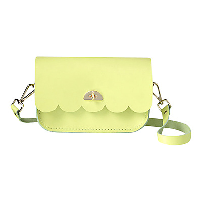 Cambridge Satchel Leather Cloud Bag With Handle - predominant colour: lime; occasions: casual, creative work; type of pattern: standard; style: messenger; length: across body/long; size: small; material: leather; pattern: plain; finish: fluorescent; embellishment: chain/metal; season: a/w 2015; wardrobe: highlight