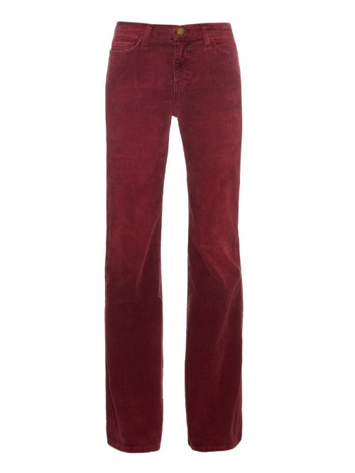 The Girl Crush Mid Rise Flared Corduroy Jeans - style: flares; length: standard; pattern: plain; pocket detail: traditional 5 pocket; waist: mid/regular rise; predominant colour: burgundy; occasions: casual; fibres: cotton - stretch; texture group: corduroy; pattern type: fabric; season: a/w 2015