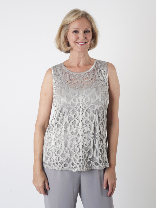 Silver Grey Stretch Lace Camisole - neckline: round neck; sleeve style: sleeveless; style: vest top; predominant colour: silver; occasions: evening, occasion; length: standard; fibres: polyester/polyamide - 100%; fit: body skimming; sleeve length: sleeveless; texture group: lace; pattern type: fabric; pattern size: standard; pattern: patterned/print; season: a/w 2015; wardrobe: event