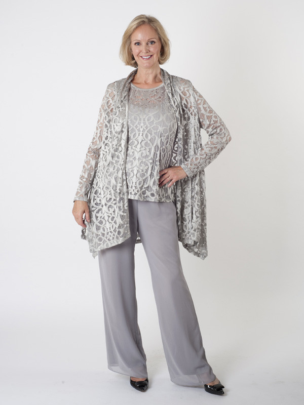 Silver Grey Stretch Lace Shrug - collar: round collar/collarless; fit: loose; length: below the bottom; predominant colour: silver; occasions: evening, occasion; fibres: polyester/polyamide - 100%; sleeve length: long sleeve; sleeve style: standard; texture group: lace; collar break: low/open; pattern type: fabric; pattern size: standard; pattern: patterned/print; style: fluid/kimono; season: a/w 2015