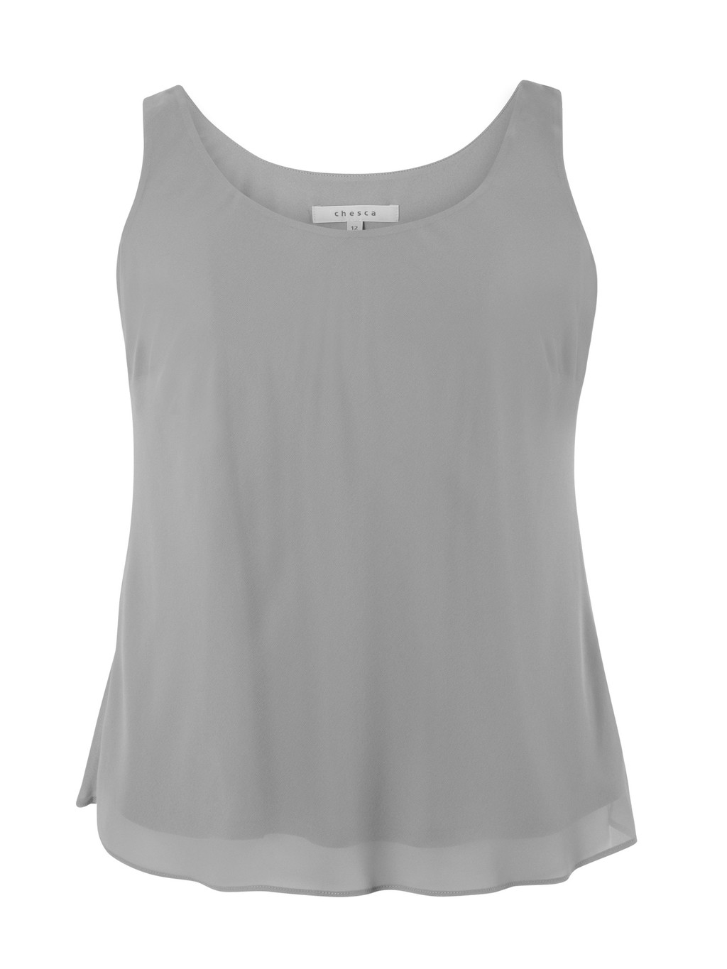 Pale Grey Jersey Lined Chiffon Camisole - sleeve style: standard vest straps/shoulder straps; pattern: plain; style: vest top; predominant colour: mid grey; occasions: casual; length: standard; neckline: scoop; fibres: polyester/polyamide - 100%; fit: body skimming; sleeve length: sleeveless; texture group: sheer fabrics/chiffon/organza etc.; pattern type: fabric; season: a/w 2015; wardrobe: basic