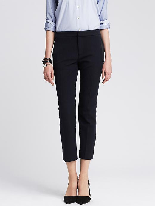 Sloan Fit Faux Leather Trim Ankle Pant Preppy Navy - pattern: plain; pocket detail: small back pockets, pockets at the sides; waist: mid/regular rise; predominant colour: navy; occasions: work, creative work; length: calf length; fit: slim leg; pattern type: fabric; texture group: other - light to midweight; style: standard; season: a/w 2015; wardrobe: basic